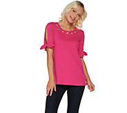 Quacker Factory Grommet Neck Split Sleeve Knit T-Shirt with Tie Detail - A305452