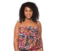 Simply Sole City Lights Bandeau Blouson TankiniTop - A332452