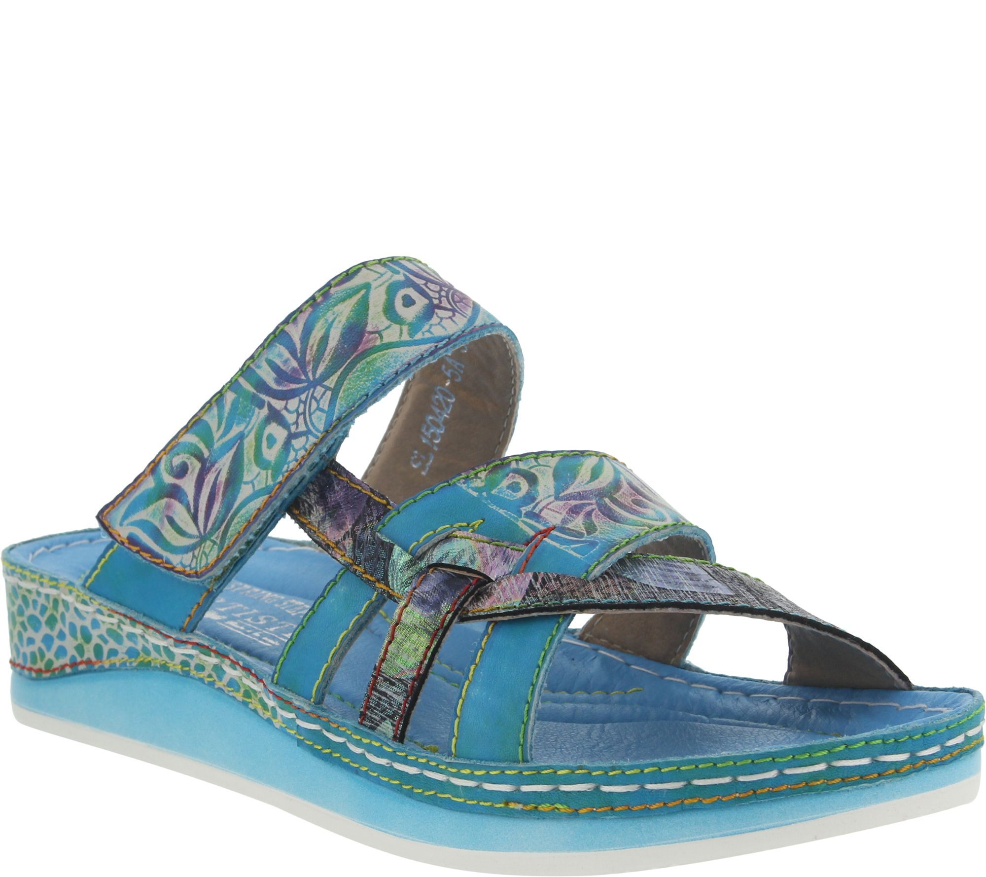 L'Artiste by Spring Step Leather Colorblock Sandal - Caiman - A356652