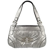 B. Makowsky Glove Leather Zip Top Shoulder Bag w/Pocket Detail - A92352