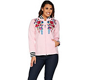Linea Leisure by Louis DellOlio Embroidered Baseball Jacket - A221353