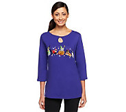 Quacker Factory Trick Or Treat Pet Pals 3/4 Sleeve T-shirt - A226853