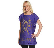 Susan Graver Jacquard Lace Dolman Sleeve Top w/ Contrast Color Tank Top - A234453