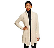 Isaac Mizrahi Live! 2-Ply Cashmere Ribbed Collar Sweater Coat - A235053