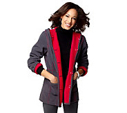 As Is Susan Graver Bonded Fleece Reversible Hooded Coat - A240453