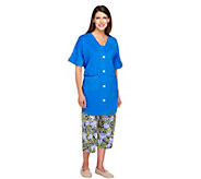 Carole Hochman 3 Piece Cotton Button-Front Pajama Set - A240853
