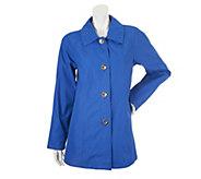 Dennis Basso Water Resistant Shirt Collar Raglan Sleeve Jacket - A252553