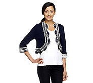 Liz Claiborne New York Crochet Trim Open Front Shrug - A253253