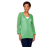 Denim & Co. 3/4 Sleeve V-neck Crochet Cardigan - A253653