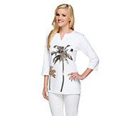Quacker Factory Split Neck 3/4 Sleeve Golden Palm Tree Tunic - A254053