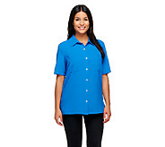 Susan Graver Woven Short Sleeve Camp Shirt - A255353