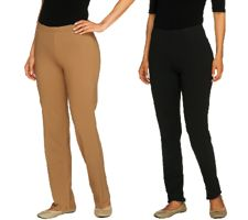 Women with Control Petite Set of 2 Slim Leg and Boot Cut Pants