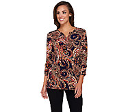 Susan Graver Printed Liquid Knit Ruched 3/4 Sleeve Top - A257953
