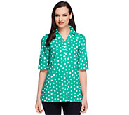 As Is Susan Graver Stretch Cotton Printed Elbow Sleeve Polo Shirt - A259353
