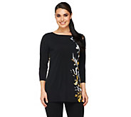 Susan Graver Liquid Knit Placement Print Tunic w/ 3/4 Sleeves - A259553