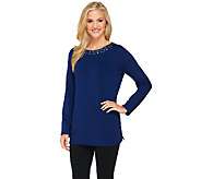 Susan Graver Weekend Brushed Back Knit Bateau Neck Top - A261953