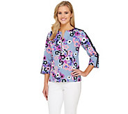 Bob Mackies Zip Front Floral Garland Jacket with Grosgrain Trim - A265053