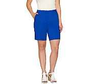 Susan Graver Cotton Sateen Comfort Waist Back Zip Front Shorts - A265853