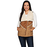 LOGO by Lori Goldstein Mixed Media Faux Sherpa Zip Front Vest - A267853