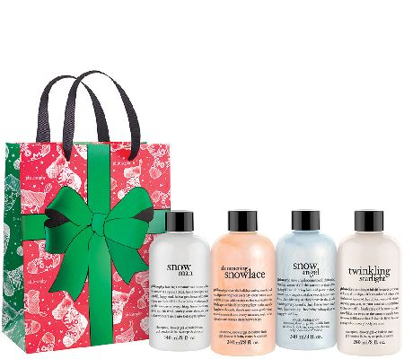 philosophy sparkling snow 4pc shower gel collection w/ holiday bag - A272053