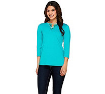 Susan Graver Artisan Butterknit 3/4 Sleeve Top with Keyhole - A273453