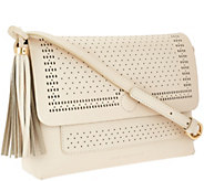 As Is Isaac Mizrahi Live! Bridgehampton Cut-out Leather Crossbody - A274453