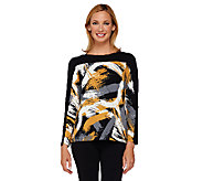As Is Susan Graver Weekend Printed Cotton Modal Long Sleeve Top - A275153