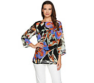 Bob Mackies Floral Printed 3/4 Sleeve Chiffon Top and Knit Tank Set - A276553