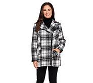 As Is Susan Graver Asymmetrical Zip Front Faux Wool Coat - A277853