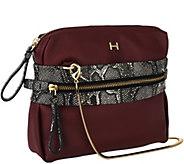 As Is H by Halston Pebble Leather & Snake Print Crossbody Handbag - A278253