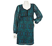 As Is Nicole Richie Collection Ikat Print Tunic w/ Velvet Trim - A280153