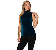 Susan Graver Stretch Velvet Sleeveless Turtleneck Top - A282953