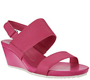 As Is Isaac Mizrahi Live! Double Strap Leather Wedge Sandals - A283953