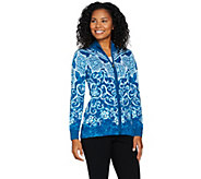 Bob Mackies Printed Zip Front Sweater Knit Cardigan - A284353