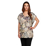 As Is George Simonton Tropical Safari Print V-neck Tunic_w/Slits - A286653