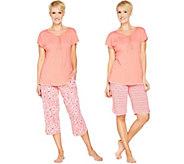 Carole Hochman Dogwood Floral & Dot 3-Piece Pajama Set - A286853