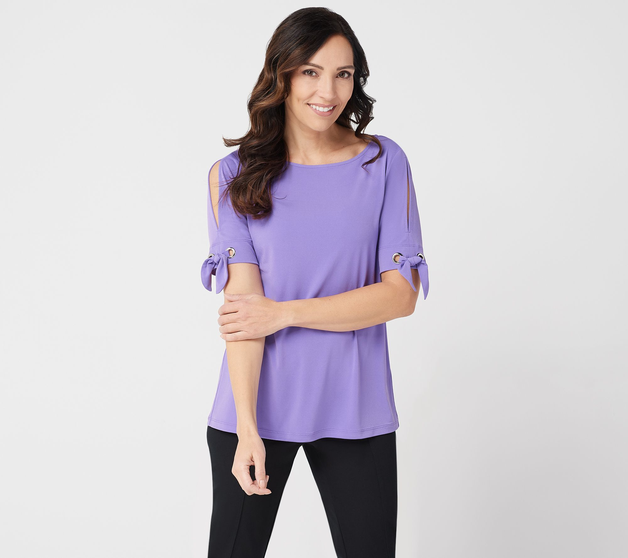 Susan Graver Liquid Knit Short Sleeve Top Page 1 Qvc Com