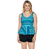 Contour by Beach Scene V-Neck Peplum Tankini w/Short Swimsuit - A289653