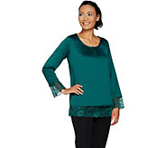 Isaac Mizrahi Live! Satin Blouse with Lace Hem & Cuffs - A296853