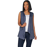 LOGO Lounge by Lori Goldstein French Terry Open Front Hooded Vest - A302453