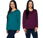 As Is Quacker Factory Set of 2 Long Sleeve T-shirts with Zipper Detail - A304953