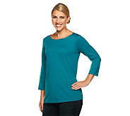 Susan Graver Essentials Cotton Modal 3/4 Sleeve Bateau Neck Top - A224554
