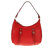 Maxx New York Pebble Leather Hobo Bag with Croco Leather Trim - A225654