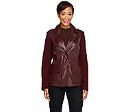 Linea by Louis DellOlio Leather Blazer with Knit Sleeves - A228554