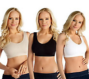 As Is  Breez- Ease Set of 3 Seamless Bras with UltimAir - A231354