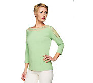 George Simonton Milky Knit 3/4 Sleeve Knit Top with Crochet Detail - A231554