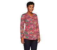 Liz Claiborne New York Long Sleeve Fiesta Floral Print T-Shirt - A236954
