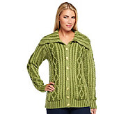 Aran Craft Convertible Collar Plaited Cardigan - A237954