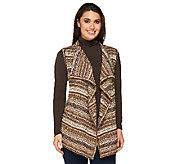 Denim & Co. Fair Isle Drape Front Sweater Vest - A238354