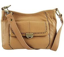 "As Is"" Tignanello Pebble Leather Crossbody Bag w/Flap Pocket"